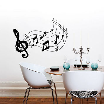 Wall Decal Vinyl Sticker Decals Art Home Decor Mural Note Musical Notes Waves Music Recording Studio Treble Clef Floral Patterns AN430