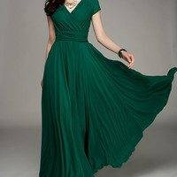 Dark Green Oasap Wrapped V-neck High Waist Maxi Maxi Dress By 75% off retail