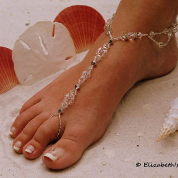 Barefoot Sandal - Simply Elegant Swarovski Ice Princess and Silver Beads - Deach Destination Wedding