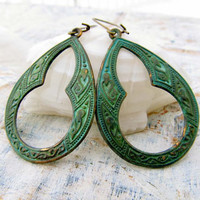 Green Bohemian hoop earrings Moroccan inspired Bohemian jewelry
