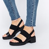 ASOS HOME STRAIGHT Leather Heeled Sandals at asos.com