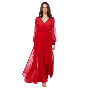 Red V-Neck Long Sleeve Chiffon Maxi Dress