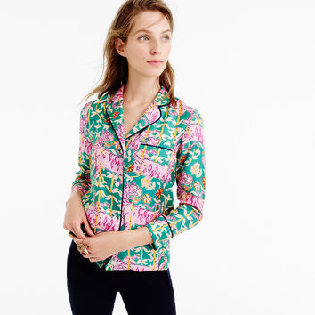 Collection Drake's® for J.Crew pajama top in Green Bengal Tiger