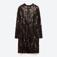HIGH NECK SEQUINNED DRESS DETAILS