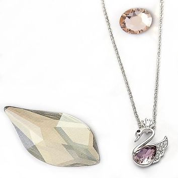Rhodium Layered Women Swan Fancy Necklace, with Light Rose Swarovski Crystals, by Folks Jewelry