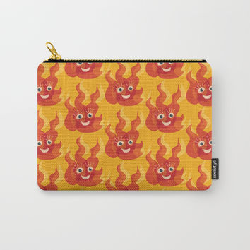 Happy Burning Cartoon Fire Carry-All Pouch by borianagiormova
