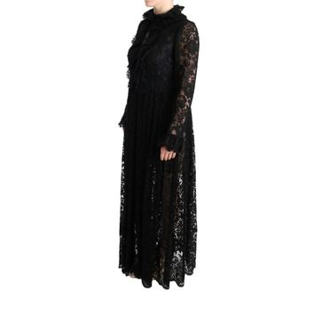 Dolce & Gabbana Black Floral Lace Maxi Dress