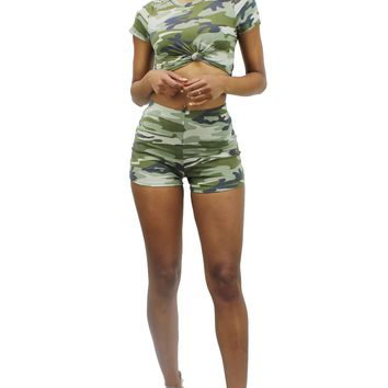 Camouflage Round Neck Knotted Front Crop Top and High Rise Shorts Set