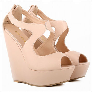 New Concise Cutouts Sandal Wedges 14cm High Heeled Platform Women's Shoes Pumps For Woman