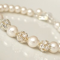 Bridal Pearl Bracelet Wedding Jewelry Rhinestone Bling Bracelet - Vivian Feiler Designs | Wedding