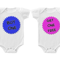 Twins Baby Boys Girls Funny Bodysuits Creeper Buy One Get One Free #2