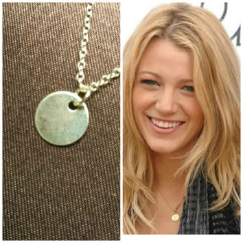 Celebrity necklace, Celebrity Jewelry, Tiny Disc Necklace, Custom Initial necklace, Sterling silver necklace, Handstamped necklace