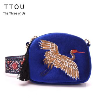 TTOU New Design Mini Shell Bag Velvet Tassel Clutch Bag Hand Embroidery Cranes Retro Wide Shoulder Strap Shoulder Bag for Women