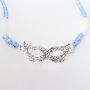 Blue Mask Necklace - White Crystal Necklace - Lobster Clasp - Silver Rhinestone Mask Necklace - Masquerade Party / Prom Jewelry / Favors