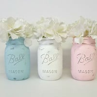 Pink, Blue & White Chalky Painted Mason Jars