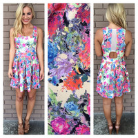 Fluorescent Floral Babydoll Dress