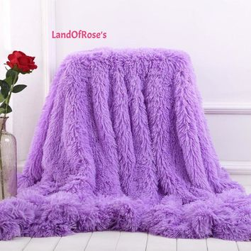 Super Soft Long Shaggy Fuzzy Elegant Cozy  Blanket Bed Sofa Blanket