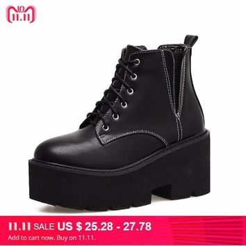 lace up punk boots  women ladies platform boots High Heel winter shoes motorcycle Ankle Boots waterproof snow boots women YMA415