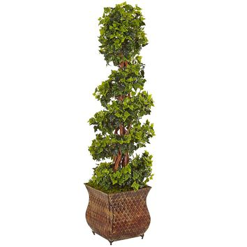 Artificial Silk Tree -4 Ft English Ivy Spiral Tree In Metal Planter