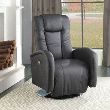 Homelegance Lucio Swivel Power Reclining Chair in Black Bi-Cast Vinyl