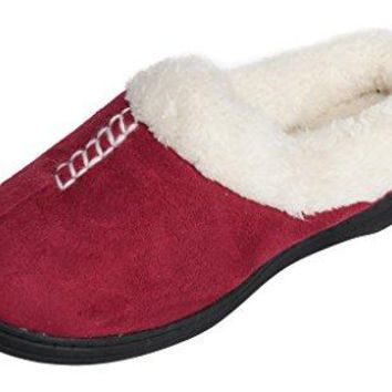 Beverly Rock Womens Stitched Faux Suede Faux Fleece Lined Clog Slippers