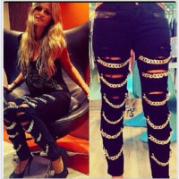 Broken jeans stitching pu leather black feet pants chain