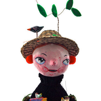 Art doll Clay cloth hand painted and by JessQuinnSmallArt on Etsy
