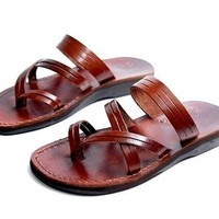 Unisex Adults/Children Genuine Leather Biblical Sandals / Flip flops (Jesus - Yashua) Shepherd's Field Style - Holy Land Market Camel Trademark