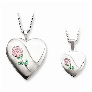 Sterling Silver Polished and Satin Rose Heart Mom Locket & Daughter Pendant Set