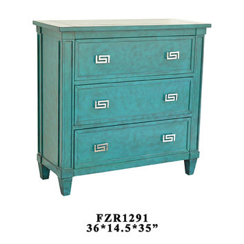 Crestview Priscilla 3 Drawer Turquoise Chest - CVFZR1291
