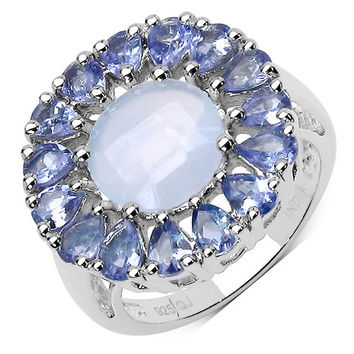 8.10 Carat Genuine Blue Chalcedony & Tanzanite .925 Sterling Silver Ring