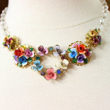 Flora- Antique Austrian Enamel Floral Necklace- Reinvented Vintage Jewelry by Karen Graham- Multicolor and Crystal- One of a Kind