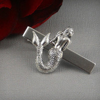 Large Mermaid Tie Clip,Silver Ox  Nautical, Neo Victorian, Gift, Matte Finished Clip