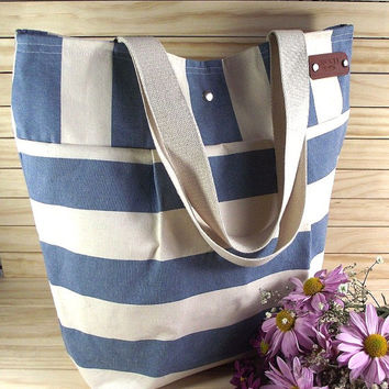 Striped Diaper Bag Monogrammed Canvas Tote Bag Bridesmaid Large Beach Bag Nautical Stripes Bag Shoulder Bag Eco friendly Shoulder Handbag