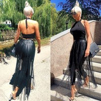 Holographic Rave Festival Belt Fringe Skirt Black Faux Leather Fringe Long Skirt