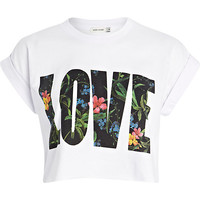 White 'love' print cropped tee - t-shirts / tanks / sweats - sale - women