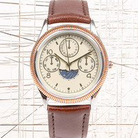 Sun & Moon Leather Strap Watch