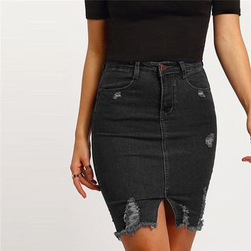 Black Casual Ripped Split Denim Skirt