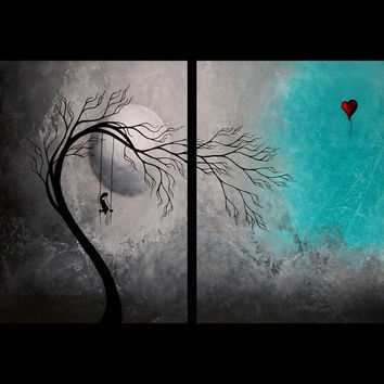 SALE Sad Surreal Tree Print Set Heartache and by BestArtStudios2