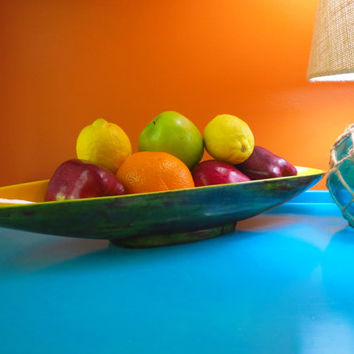 Vintage 1960s MID Century Modern Ceramic Glazed Oblong Yellow Green Fruit Bowl Dish