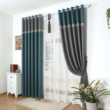 95% Blackout Thick Window Curtain Fabric For Bedroom Linen Lace Drapes Panel Living Room Grey Plain Home Curtains Elegant Coffee