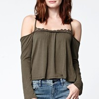 LA Hearts Crochet Neck Cold Shoulder Top - Womens Tee