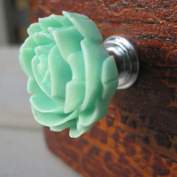 Drawer knobs with Blooming Rose in Mint Green MORE COLORS Available (RFK04)