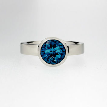 10mm London lue topaz solitaire engagement ring, white gold, teal ring, bezel engagement ring, simple, topaz wedding, unique, blue