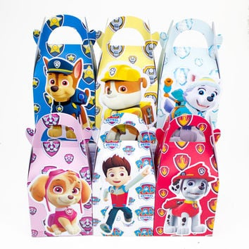 Pawed Patroling  Favor Box Candy Box Gift BoxCupcakeBox Boy Kids Birthday Party Supplies Decoration Event Party Supplies