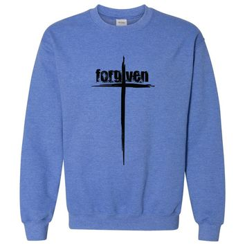 Forgiven Cross Christian Crewneck Unisex Sweatshirt