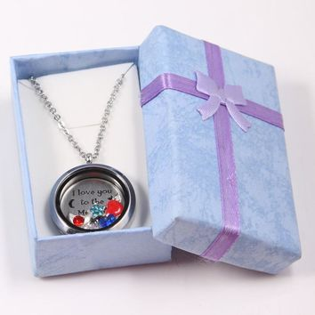 30mm Stainless Steel Floating Locket +I Love To The Moon Back Plate+Charms+50cm Chain+Gift Box For Best Gift For Valentine's Day