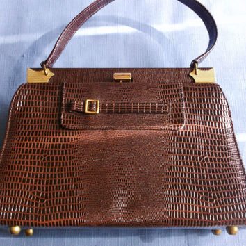 Vintage Brown Purse Handbag by Naturalizer 1960's Simulated Leather Special Occasion Gif for Her Birthday Christmas Holiday