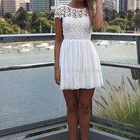SPLENDED ANGEL DRESS , DRESSES, TOPS, BOTTOMS, JACKETS & JUMPERS, ACCESSORIES, 50% OFF , PRE ORDER, NEW ARRIVALS, PLAYSUIT, COLOUR, GIFT VOUCHER,,White,LACE,SHORT SLEEVE,MINI Australia, Queensland, Brisbane