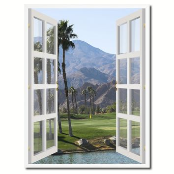 Palm Springs California West Golf Course Picture French Window Canvas Print with Frame Gifts Home Decor Wall Art Collection